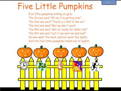 5 little pumpkins. My mom sang this to us every Halloween!