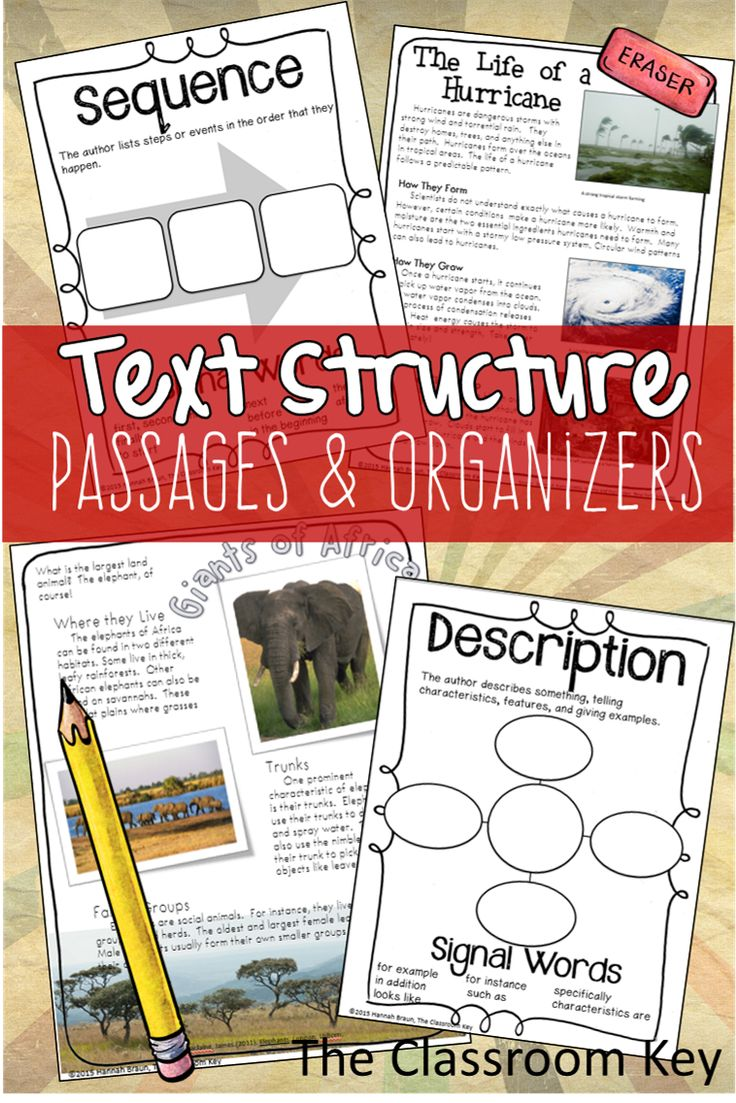 Expository Text Structures ($) A reading passage and a graphic organizer for each text structure, use the graphic organizers again and again with other texts: