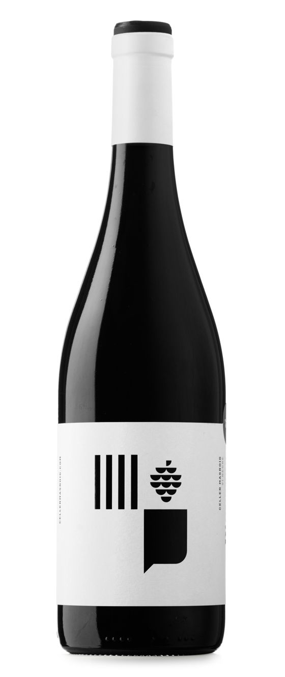 Pinyeres red wine. Celler Masroig commissioned us to redesign one of their most emblematic products, Castell de les Pinyeres. In the XVIII century the township of Les Pinyeres was added to El Masroig and as a result they came up with a new flag that we have used as an inspiration to design the label.