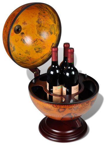 Globe-Mini-Bar-Wine-Liquor-Drinks-Bottle-Storage-Table-Top-Wood-Stand-Replica