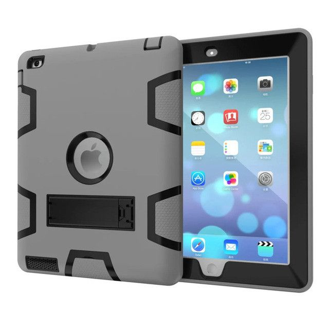 HOT For Apple iPad2 iPad3 iPad4 Kids Safe Armor Shockproof Heavy Duty Silicon+PC Stand Back Case Cover For ipad 2 3 4 Tablet PC