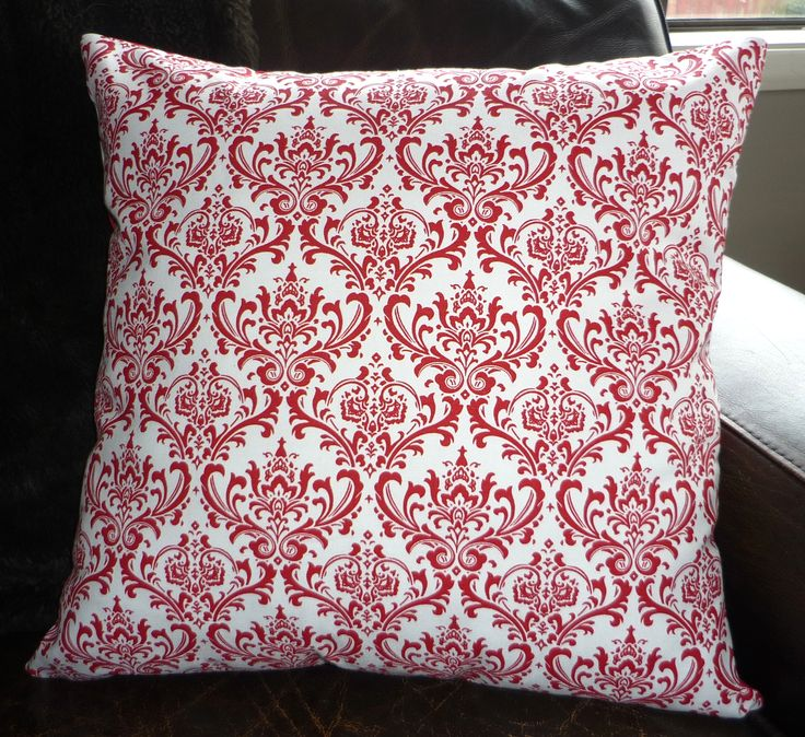 Red & white damask cushion cover