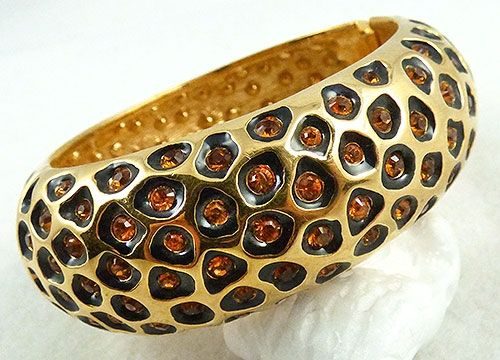 KJL Rhinestone Leopard Sponts Bracelet - Garden Party Collection Vintage Jewelry