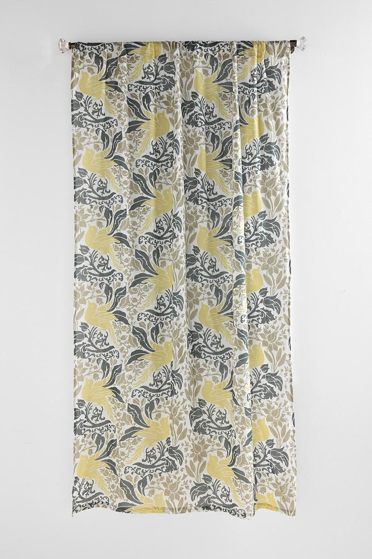 High Quality Grey And Yellow Curtains W/birds Dining Room