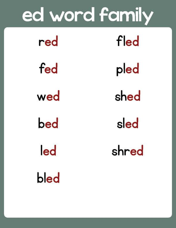 ED Word Family List | PrimaryLearning.org | Word families, Word family  worksheets, Ryming words