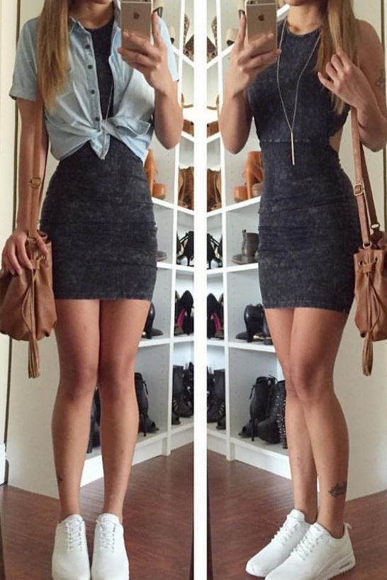 Mineral Washed Cut Out Dress