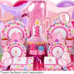 First Birthday Girl Party Supplies - 1st Birthday Party Ideas at http://www.birthdayinabox.com/party-ideas/guides.asp?bgs=2