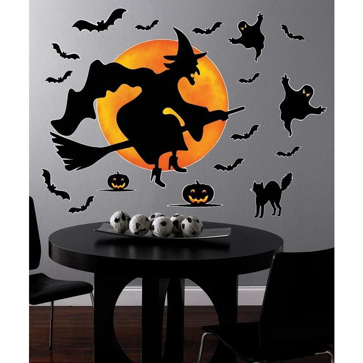 halloween witch giant wall decals