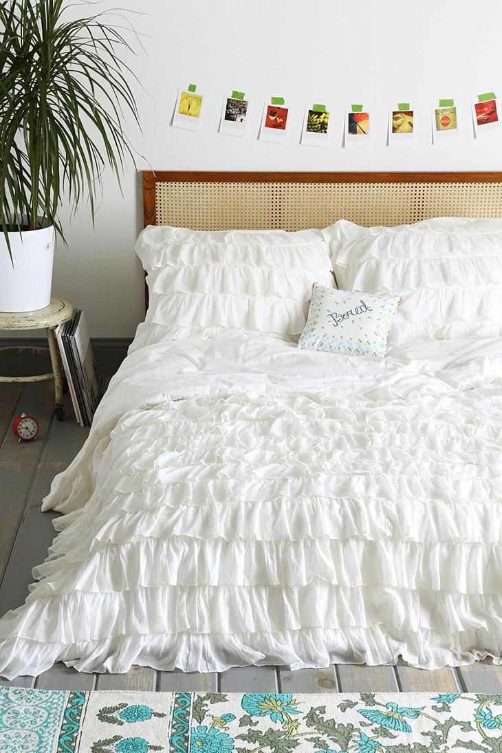 waterfall ruffle duvet cover urban outfitters the row and pictures. Black Bedroom Furniture Sets. Home Design Ideas