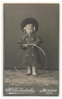 SWEET-LITTLE-GIRL-winter-coat-hat-hoop-toy-CDV-PHOTO-c1905-child-fashion ~~ SWEET LITTLE GIRL winter coat hat / hoop toy   c1905 child fashion  Original vintage CDV CARD photo Mannheim Germany   Current photo Auctions are here More Buy-It-Now photos are here   approx 2.5 x 4.0 inches
