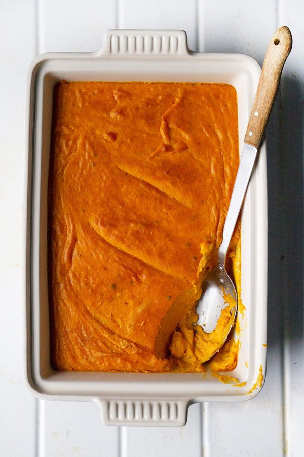 Inspired by his grandmother's corn pudding, chef James Wayman of Mystic, Connecticut's Oyster Club makes this autumnal side dish with Beauregard sweet potatoes, bacon fat, and plenty of cream. And I must sub something like coconut milk for the cream!