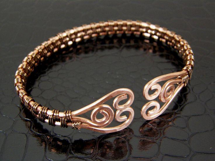 Wire Wrap Hammered Copper & Bronze Wire Weave Bracelet, Bangle, Cuff Bracelet. $34.00, via Etsy.