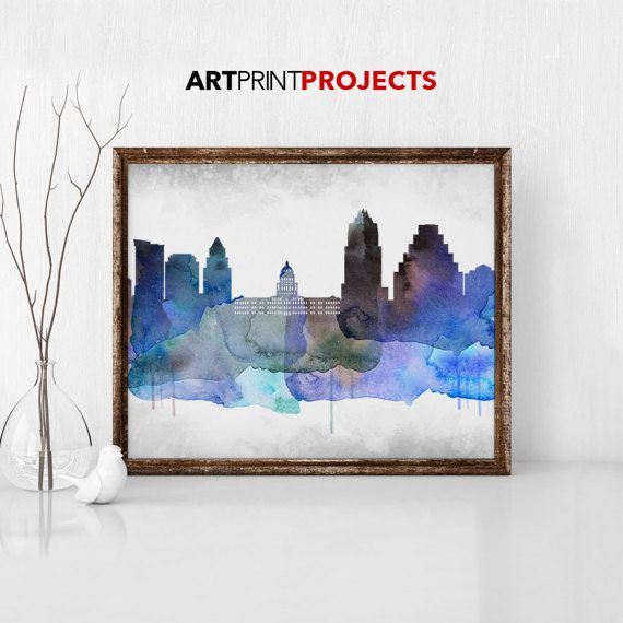 Austin watercolor skyline print Austin Texas by ArtPrintProjects