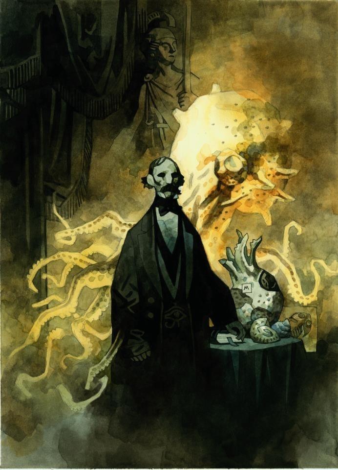 Cuando eres lector de cómics y sientes predilección por la temática lovecraftiana, es harto improbable que no te topes con la obra del artista estadounidense Mike Joseph Mignola, más conocido por ser el creador de Hellboy. El juego de luces y sombras en sus ilustraciones, su matiz gótico, sombrío, y la temática de sus obras, lo convierten en un favorito para los fans del horror cósmico.