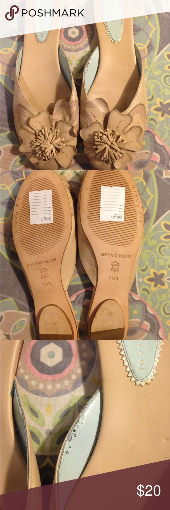 Antonio Melani flower leather slip-onssize 7.5 New slip-ons with flower detail by Antonio Melani size 7.5. The leather is damaged on the inside as seen in the picture. ANTONIO MELANI Shoes Flats & Loafers