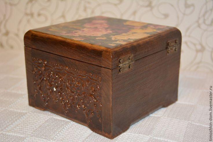 Шкатулка с рельефом - коричневый,декор для интерьера,шкатулка декупаж