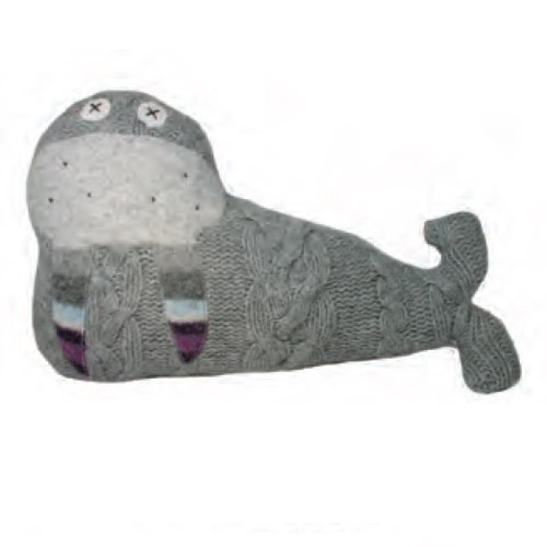 Walrus Pillow Pal by Cate & Levi.  Made from reclaimed wool with new, dye-free wool stuffing.  Made in Canada.