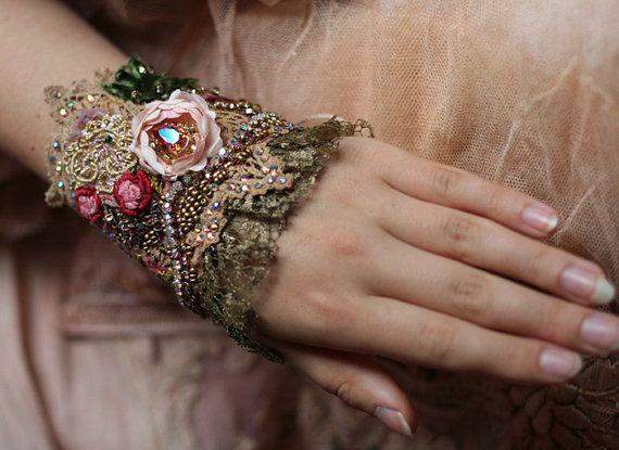 Tea rose romántico shabby chic pulsera brazalete por FleursBoheme