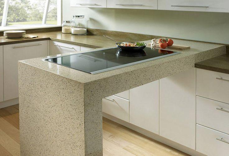 Барные стойки из искусственного камня в кухонном интерьере и гостиной