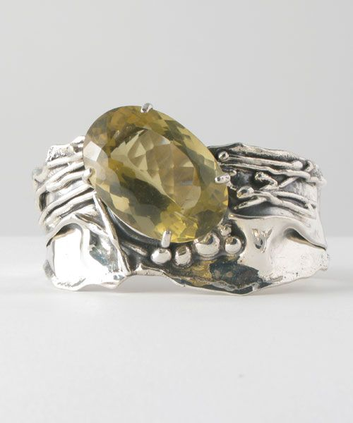 Cuff | Donald Marksz. Sterling silver and Brazilian Citrine