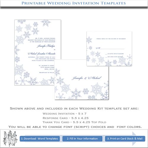 Classic And Elegant, Our Snowflake Invitation Template Set