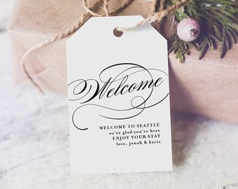 Welcome Wedding Tag Wedding Welcome Bag Tag by BlissPaperBoutique
