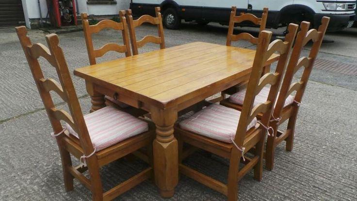 Farmhouse style pine chunky table and chairs dunmurry