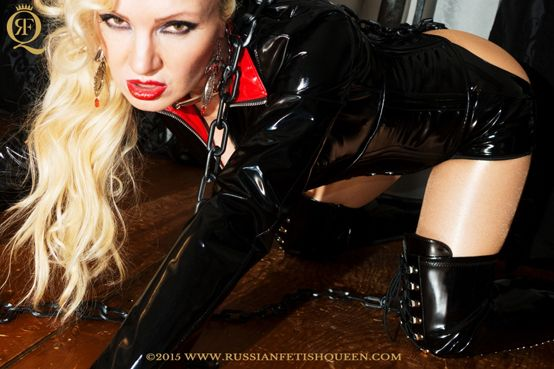 #RussianFetishQueen dressed in hot #leather #skintightbodysuit, #glossypantyhose wearing a leather #gloves and #overkneeboots, prepare to put you in chains