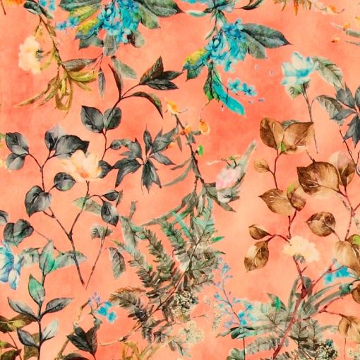 Satin stretch coral with flowers - Stoff & Stil - Great for DIY party outfits - dresses, tops and pants!