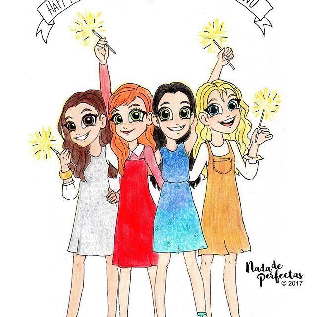 Happy New Year! 🎇🌟💕 Feliz Año Nuevo! #nadadeperfectas #characterdesign One more year! Hally, Daphne, Leena and Terra! 💫✨🎉💞 One more year of Nada de Perfectas!