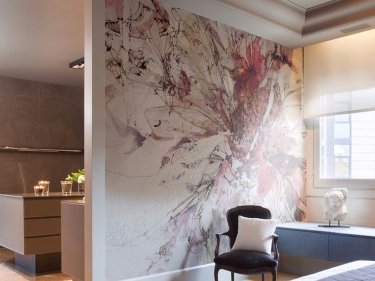 Artistic wallpaper with floral pattern BOUDOIR II Artists Collection by Inkiostro Bianco design Aura Zecchini