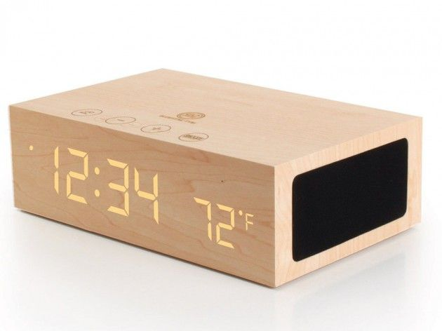 A Wooden LED Alarm Clock and Wireless Bluetooth Speaker from GOgroove