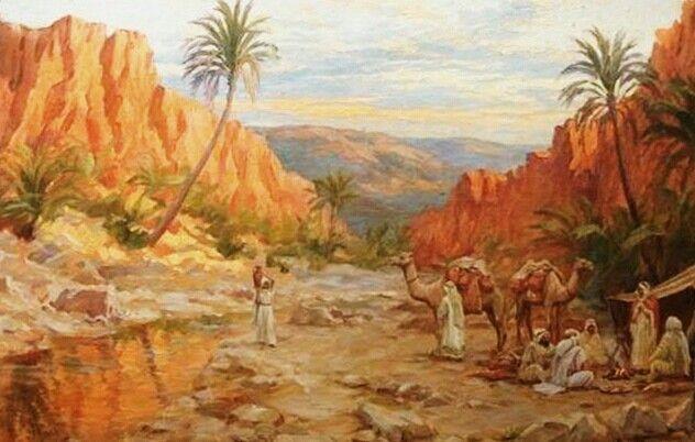 Algérie - Peintre français Alphonse BIRCK (1859-1942) , huile sur toile , Titre : Paysage animé