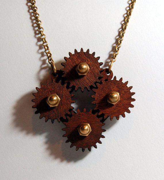 Wooden Steampunk Circular Motion Necklace