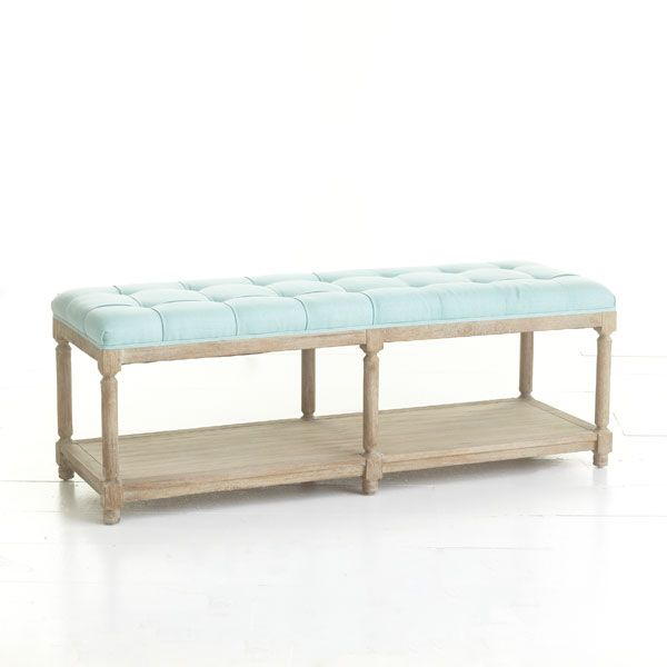 Wisteria - Furniture - Benches & Ottomans -  Chesterfield Bench - $799.00 Transitional with toy bins & book storage underneath