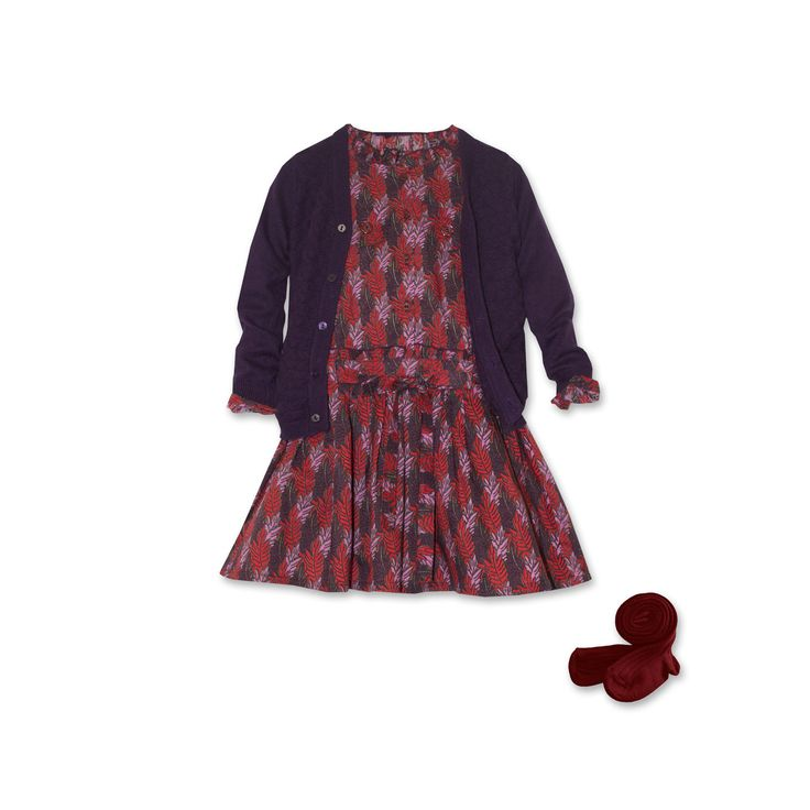 Look fille #Bleucommegris Hiver 2014-2015 Ensemble robe aux feuillages rouges et violets