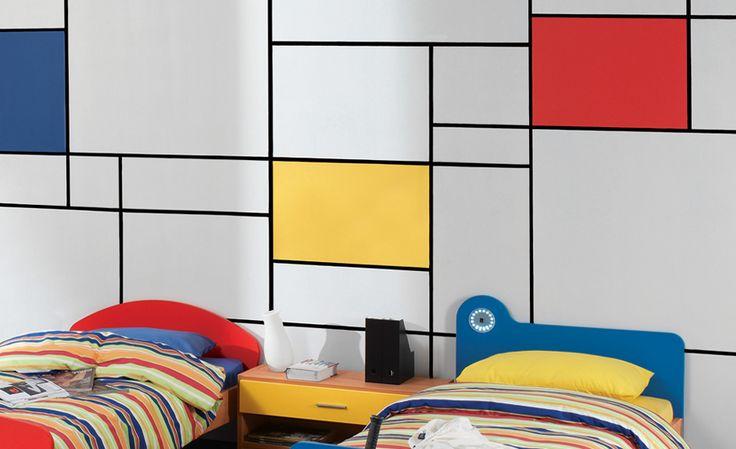 Ζωγραφικός τοίχος που θυμίζει πίνακα του Mondrian. Δείτε περισσότερες πρωτότυπες ιδέες διακόσμησης για το παιδικό δωμάτιο στη σελίδα μας  www.artease.gr