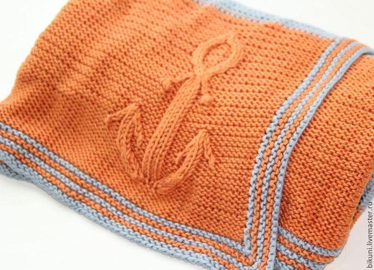 Купить Вязаный детский плед-одеяло ручной работы с якорем в морском стиле. - детский плед