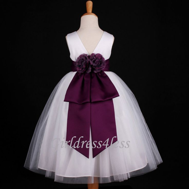 WHITE/PLUM DARK PURPLE WEDDING BRIDAL FLOWER GIRL DRESS 18M 2/2T 3/4 6 8 10 12 #F07