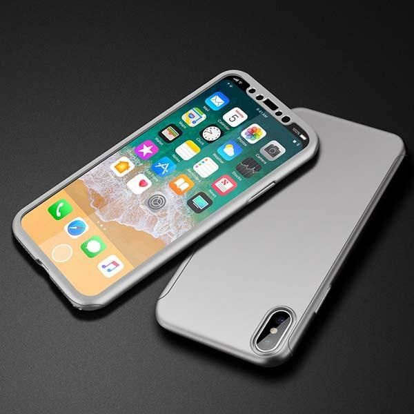 360 Full Cover Case for iPhone X Fitted Cases Luxury Ultra thin Hard Shockproof Armor Cases With Tempered Glass Screen Protection