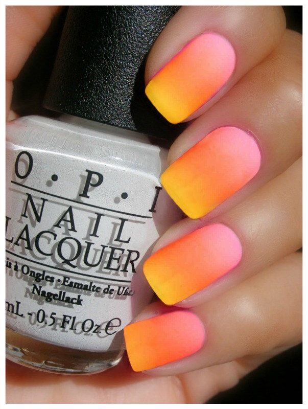 OPI NEON Matte Ombre ~OPI Hotter Than You Pink,Juice Bar Hopping, Life Gave Me Lemons,Put A Coat On! & Matte Top Coat  Nail Polish Lot by LoveThoseNails on Etsy https://www.etsy.com/listing/190389212/opi-neon-matte-ombre-opi-hotter-than-you