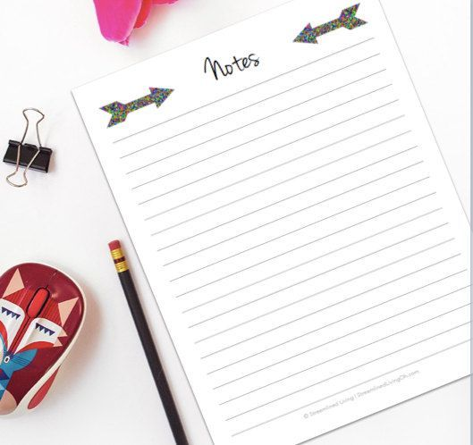 Put some cute in your life with this cute, yet simple printable Notes page. Why settle for boring notebook paper or even scraps of paper? Get organized by getting your ideas out of your head and onto a paper so you can take action! This Note page printable is in a PDF file format