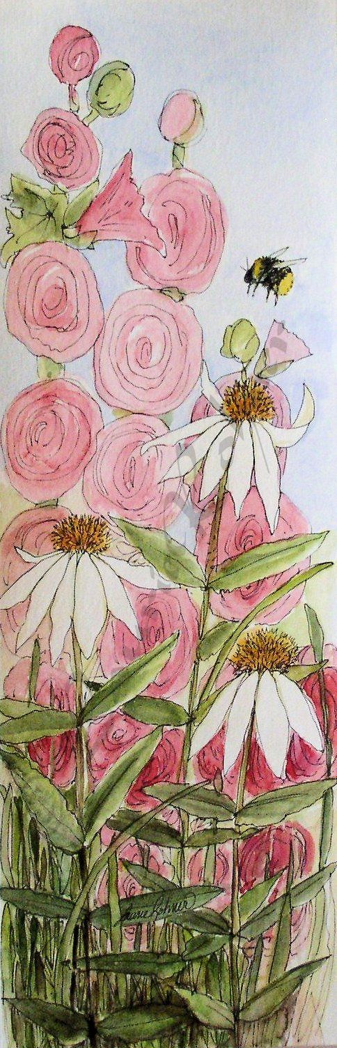 Farmhouse garden watercolor illustration ready for spring. Pink hollyhocks and…