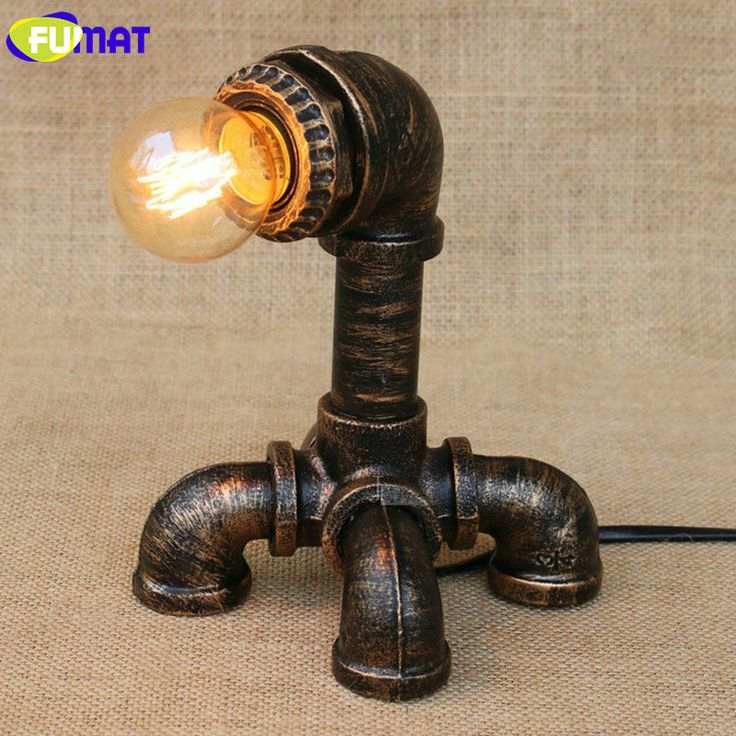FUMAT Table Lamps Four Feet Water Pipe Light Loft Vintage Halogen Bulb Table Lamp American Industrial Pipe Desk Lamps for Bar