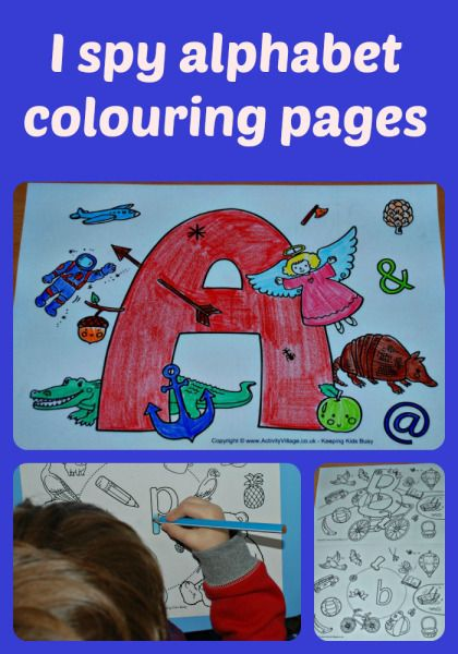 I spy alphabet colouring pages from Activity Village.  Upper Case and Lower Case pages