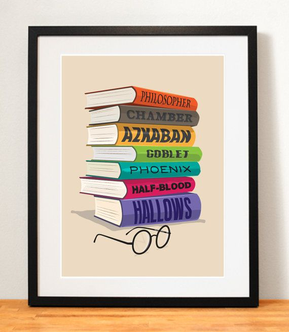 Harry Potter Movie Poster Books Print Harry Potter by NiteOwlArts, $15.00