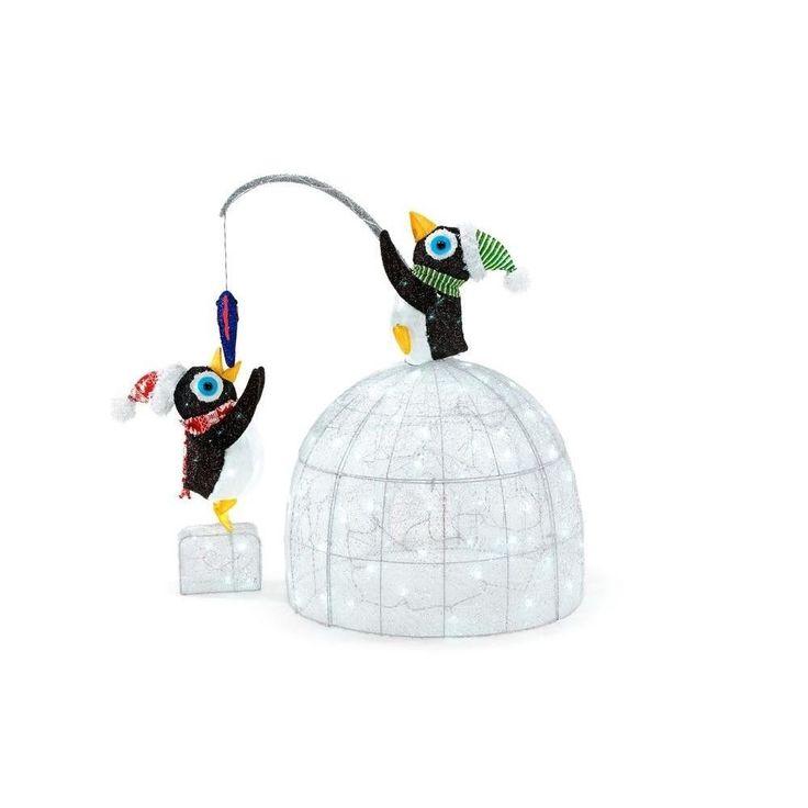 #Christmas #Decor #LED Lighted #Tinsel and Acrylic #Igloo with #Fishing #Penguins