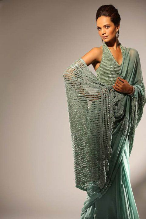 Green chiffon sari with halter neck sari blouse by Delphi - available in different colours at O'nitaa. #OnitaaLondon