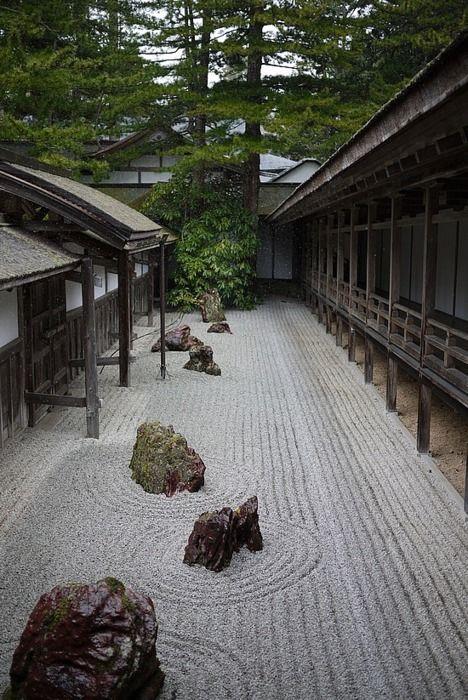 Kongobu-ji zen garden, Koyasan, Japan.