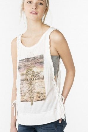 Graphic tank with laced up sides
